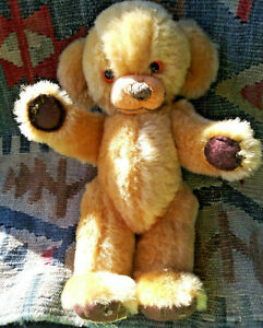 Vintage Merrythought Cheeky Teddy Bear - Golden Mohair, Bells in Ears, 11inch