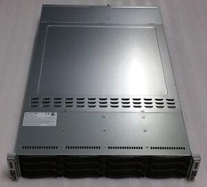 "SuperMicro 2-Node 2u Server w/ X10DRT-H Motherboards, 2x PSU, 12x 3.5"", Rails"