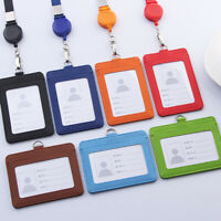 PU Leather Wallet Work Office ID Card Credit Card Badge Name Holder +Lanyard.