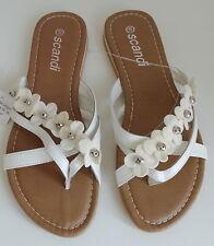 NEU Übergröße tolle Damen Zehentreter Sandale weiß braun Blütenverzierung Gr.41