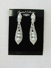 Silver Rhinestone Crystal & Pearl  Dangle CLIP ON Earrings # 1919 Wedding Bridal