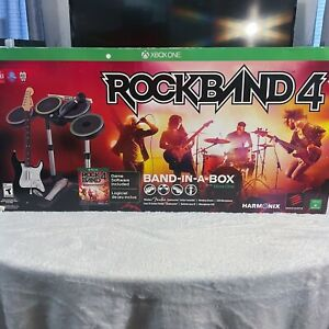 Rock Band 4 Band-in-a-box (Xbox One, 2015), Guitar, Drums, Microphone, and Disc