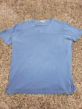Gustin V neck T-Shirt Mens Large Blue Short Sleeve Made in Los Angeles USA