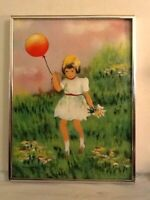 """Vintage Mark Moses Enamel On Metal Painting Little Girl With Red Balloon 16"""" H X"""