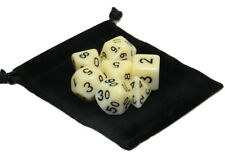 Wiz Dice 7 Die Polyhedral Set Goblin Teeth Opaque Ivory With Dice Bag