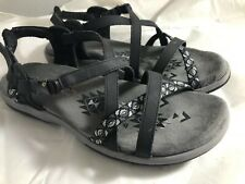 Skechers Women's Regga Slim Keep Close Gladiator Sandal,black Women Size 9