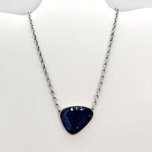 New Kendra Scott Mckenna Pendant Necklace In Navy Wood / Vintage Silver
