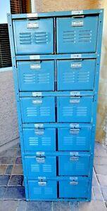 Vintage 1950 Worley & Co. Blue Industrial Locker Basket Unit