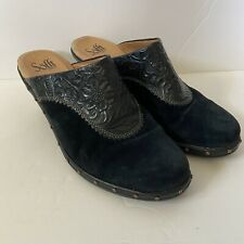 Sofft Women's Navy Blue Suede Floral Embossed Bronze Studded Leather Clogs 9