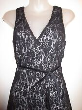 Vintage bebe XS Mixed Lace Dress Floral Black Gray Lining Sequin Cocktail Party