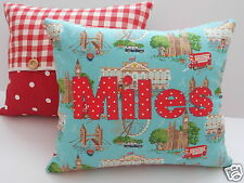 Boys CATH KIDSTON FABRIC Personalised CUSHION with PAD -  LONDON - Made To Order