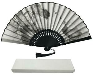 Ink Art Folding Silk Fabric Fan  with Beautiful Handcrafted Box & pouch