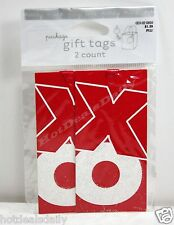 """3 Sets Of 2 Pack Hugs And Kisses """"Xxx Ooo"""" Gift Tags Present Love Red Ribbon"""