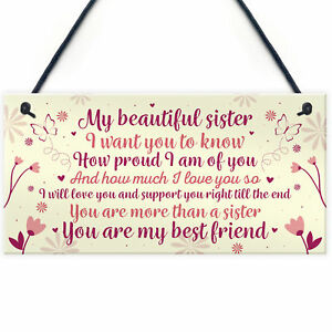 Sister Birthday Card Gift Plaque Sister Gifts For Christmas Best Friend Keepsake