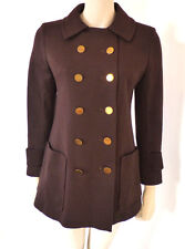 Vintage 1960s 70s St Michael Wool Brown Double Breasted Mod Jacket Coat Size 10