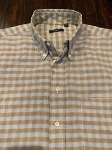 Men's Burberry London Short Sleeve Button Down Shirt Nova Check Plaid Sz. L
