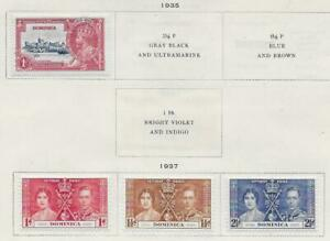 4 Dominica Stamps from Quality Old Antique Album 1935-1937