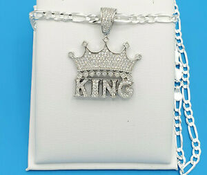 Men Jewelry 925 Sterling Silver King Crown Simulated Diamond Hip Hop Pendant
