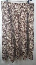 SUNDANCE 100% Linen Skirt 14 Brown Floral Calf(Midi) Length
