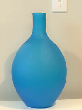 Large Carlo Moretti Satin Turquoise Glass Vase Rosenthal Netter Italy w Label