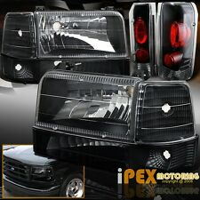 1992-1996 Ford F150 F250 F350 Bronco Black Headlight W/Corner Signal +Tail Light