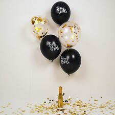 10 x TEAM BRIDE HEN PARTY BALLOON PACK - 5 Black / 5 Gold Confetti Balloons 12""