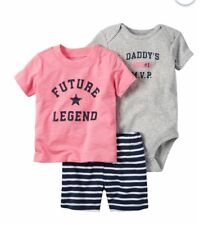"Carter's Girls 3pc ""Future Legend"" Tee, ""Daddy's #1 Mvp"" Bodysuit & Shorts 9M"