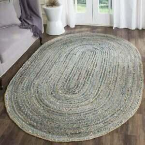 Oval Rug Natural Denim jute Braided Rug Handmade Carpet Modern Look Area Rug