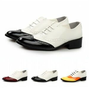British Mens Wingtip Brogues Patent PU Leather Business Wedding Formal Shoes D