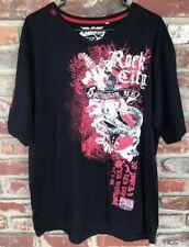Pepe Jeans London Mens Graphic V-Neck T-Shirt 2XL Rock N Roll Guitar Stones