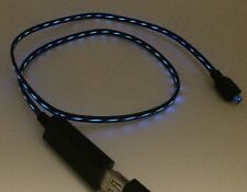 stylisches LED Micro USB Kabel schwarz / blau beleuchtet 80cm Raspberry Pi