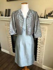 Jessica Howard SZ 12 Blue Gray Jacket Dress 2 PC Formal Evening Shantung Sheen