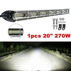 "20"" 270W Slim Single Row Spot&Flood Beam Off-Road LED Work Light Bar Waterproof"