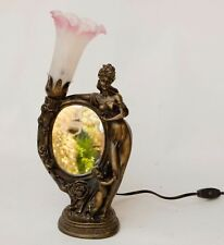 Bronze Tiffany Style Tulip Mirror Lamp Woman Child Art Nouveau