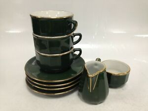 Vintage Aplico Green Cups Saucers Sugar Bowl Milk Jug #466