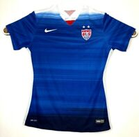 Authentic 2015 Nike Dri-Fit USA Women Small National Team Blue Soccer Jersey A28