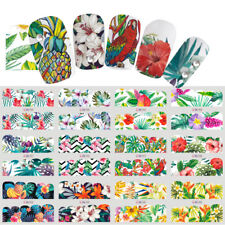 12 Sheets Nail Art Water Color Transfer Stickers Decals Leaves Tropical Jungle