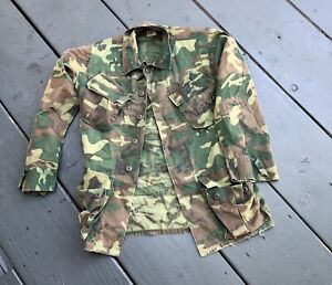 Vintage 70s ERDL Woodland Camouflage Jungle Fatigue Uniform Shirt Jacket Small