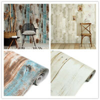 Vinyl 3D Rustic Wood Plank Self Adhesive Wallpaper Furniture Wall Stickers 19ft