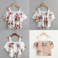 Summer Womens Short Sleeve Off Shoulder Lace Floral Strap Blouse Tops T-Shirt