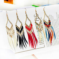Fashion Bohemia Boho Hook Multi-color Long Feather Women Dangle Earrings Jewelry