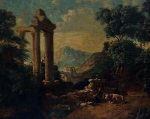 Ruinenlandschaft mit Hirten / Italien 18. Jahrhundert. - Öl/Leinwand   (# 13845)