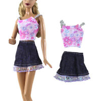 2Pcs/Set Handmade Fashion Doll Clothes Dress for Barbie Doll Party Daily Clothes