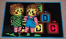 RAG DOLLS Raggedy Ann & Andy Flocked Blacklight Poster 1974 Pro Arts