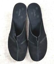 CLARKS Ladies Black Suede Leather Comfort Clogs Mules Shoes 71100 sz 9,5M
