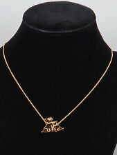 Kate Spade Gold Plated MOM KNOWS BEST Pavr' Dog Puppy Pups Necklace WBRUF611