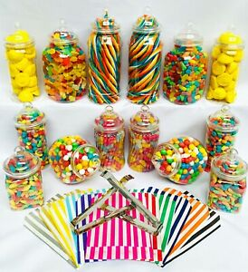 14 Plastic Sweet Jars, 7 styles, 2 tongs, 50 bags for Truly Sweet Candy Buffet