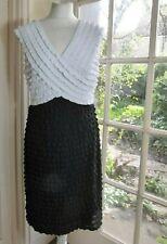 FRANK LYMAN Sleeveless Black & White Ruffle Stretch Dress - UK 14