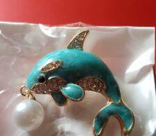 Fashion enamel dolphine pearl brooch