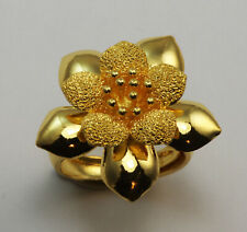 24K Solid Yellow Gold Flower Ring 9 Grams Size 6 Adjustable